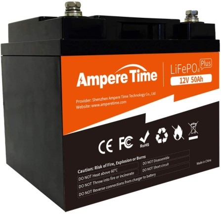 Ampere Time 12V 50AH Lithium Iron Phosphate Battery